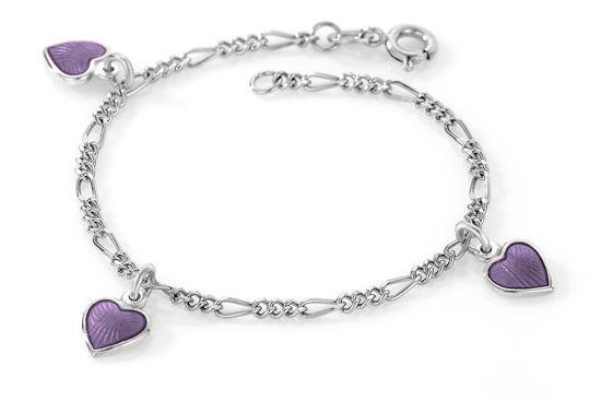 Charms-armbånd i sølv - Lilla hjerter