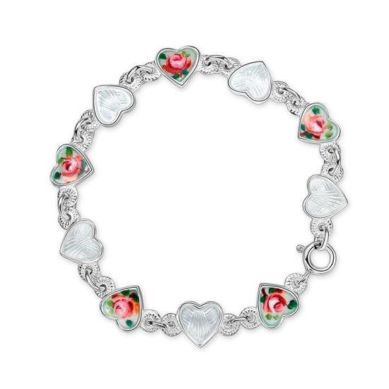 Armbånd Roser hvite hjerter i sølv