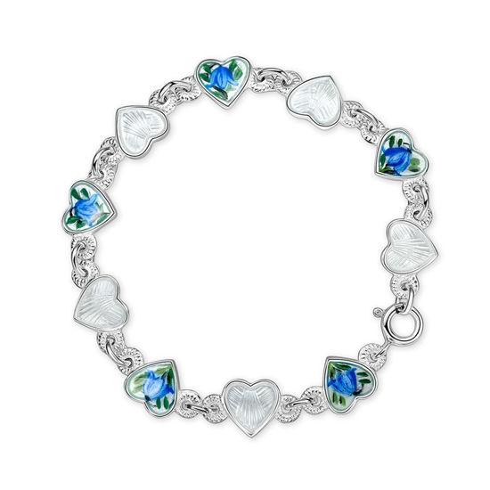 Armbånd Blåklokker hvite hjerter i sølv