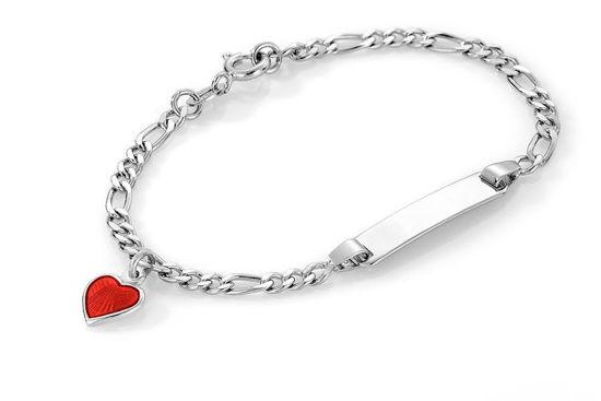 ID-armbånd i sølv - Rødt hjerte