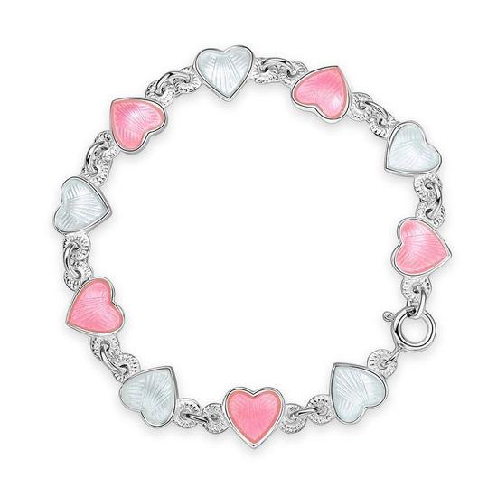 Armbånd i sølv - Rosa hvite hjerter