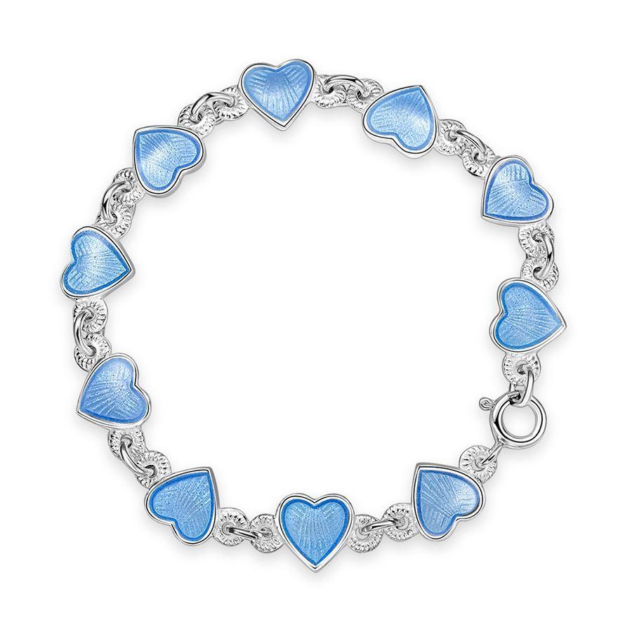 Armbånd i sølv - Lys blå hjerter