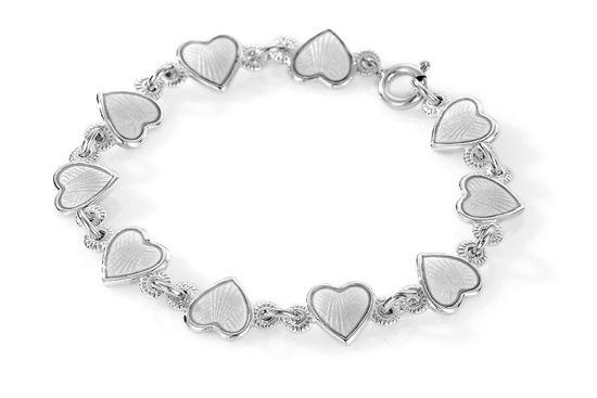 Armbånd i sølv - Hvite hjerter