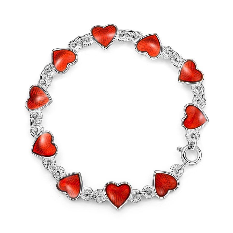 Armbånd i sølv - Røde hjerter