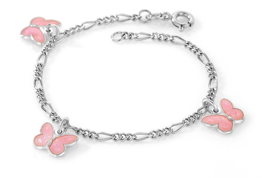 Charms-armbånd i sølv - Rosa sommerfugler