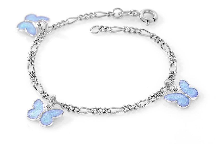 Charms-armbånd i sølv - Blå sommerfugler