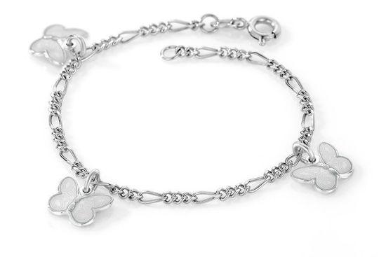 Charms-armbånd i sølv - Hvite sommerfugler