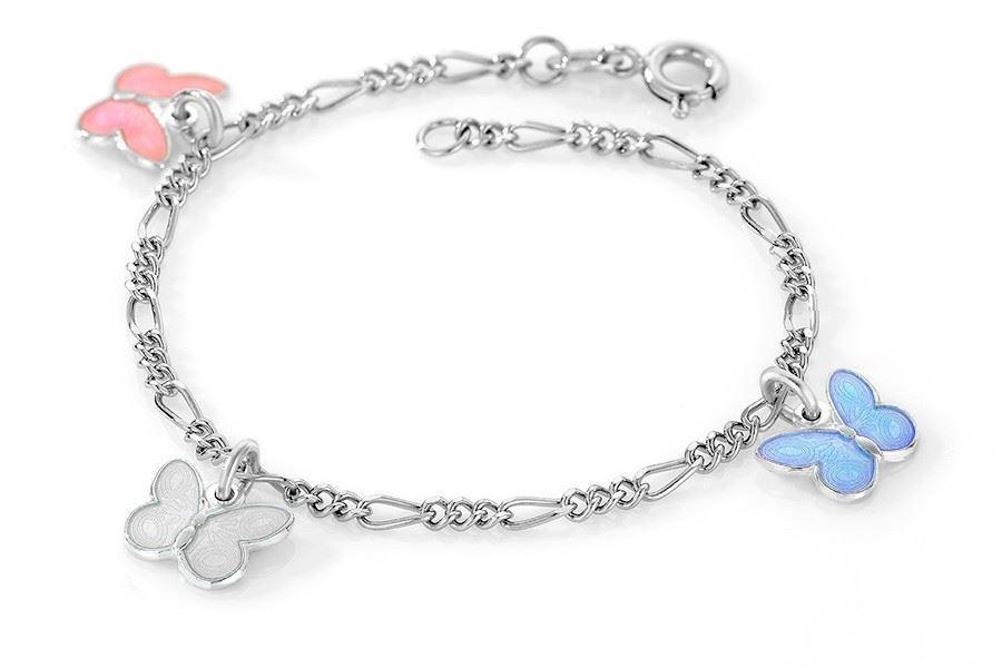 Charms-armbånd i sølv - Rosa, hvit, lys blå sommerfugler