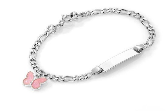ID-armbånd i sølv - Rosa sommerfugl
