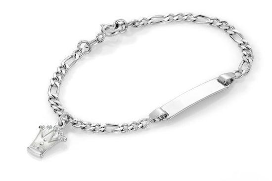 ID-armbånd i sølv - Hvit prinsessekrone