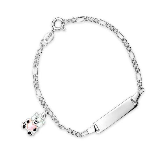 ID-armbånd i sølv - Rosa bamse