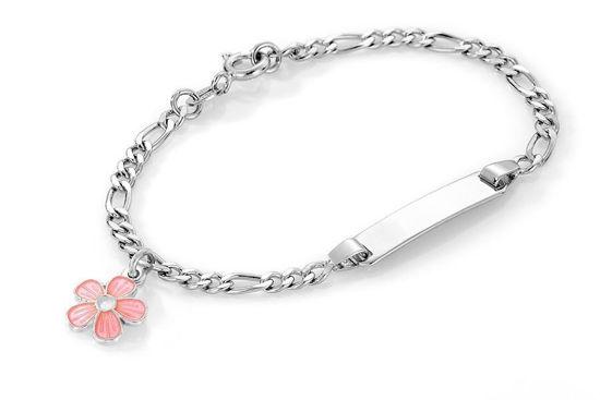 ID-armbånd i sølv - Rosa blomst