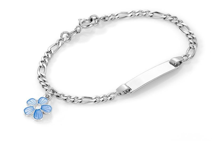 ID-armbånd i sølv - Blå blomst
