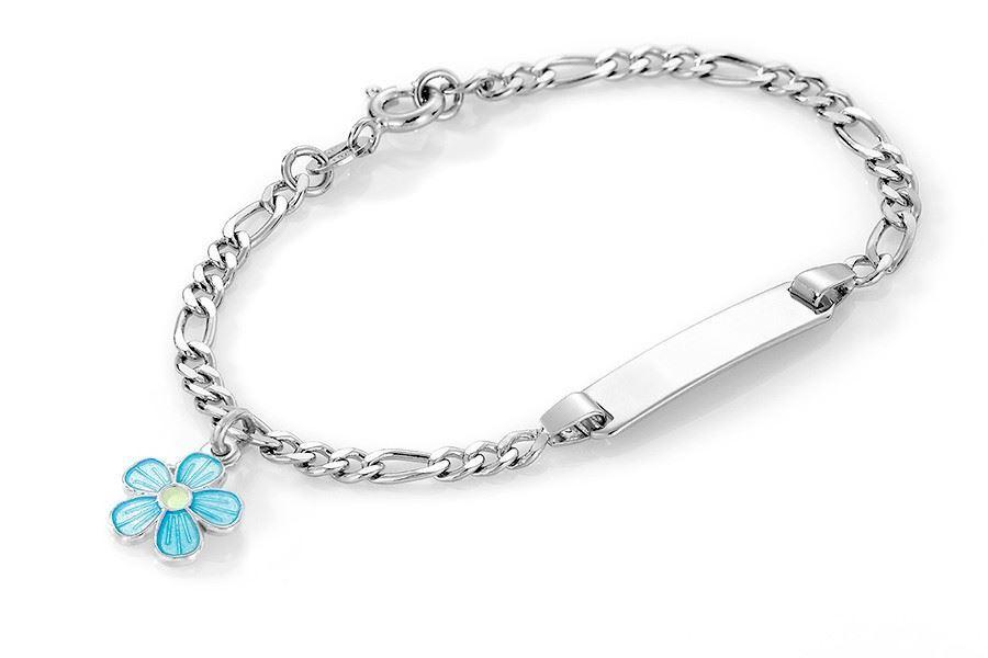 ID-armbånd i sølv - Turkis blomst