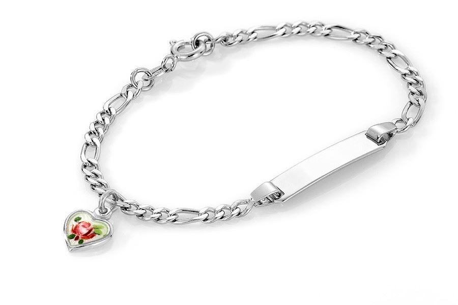 ID-armbånd i sølv med rose