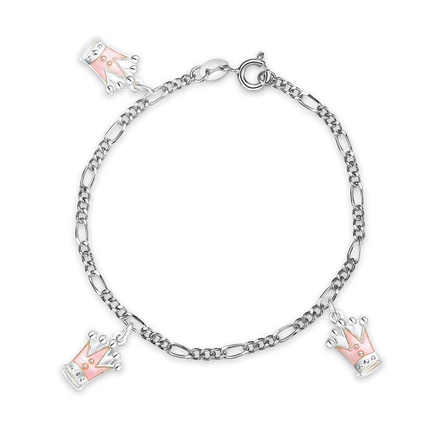 Charms-armbånd i sølv - Rosa prinsesskroner
