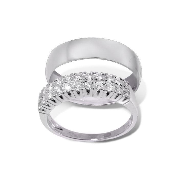 Giftering & diamantring hvitt gull 14 kt, 4.2 mm - 1350-3301038