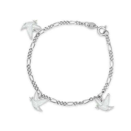 Charms-armbånd i sølv - Hvite fredsduer