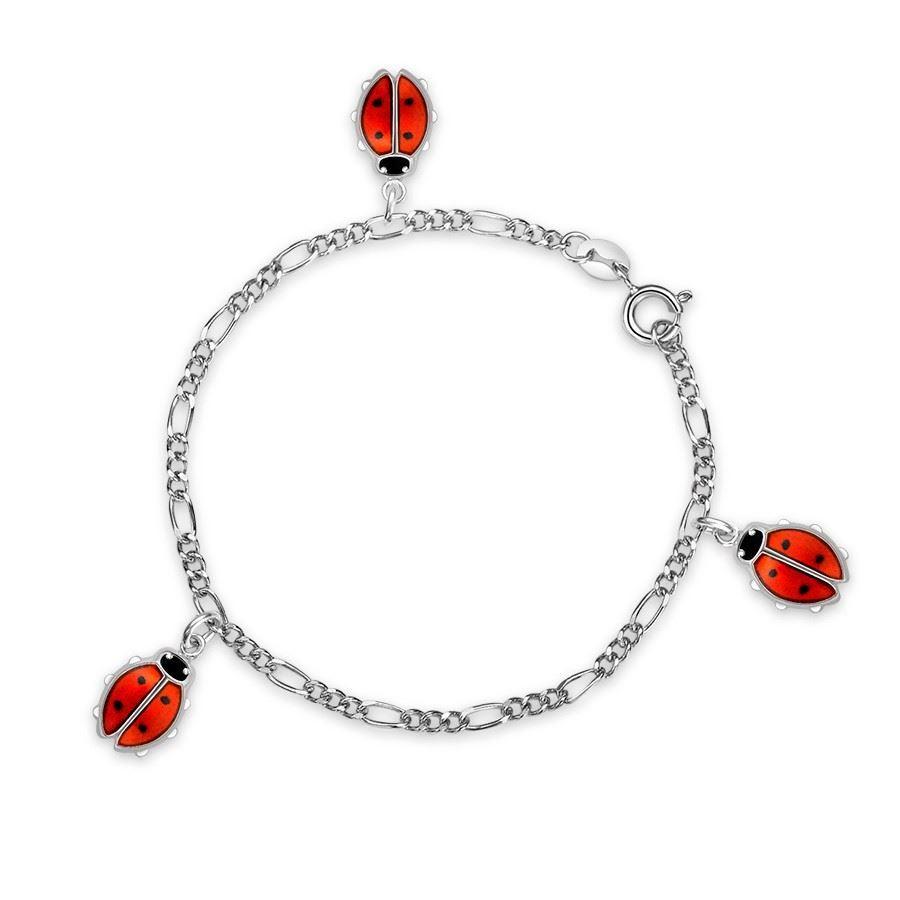 Charms-armbånd i sølv - Røde marihøner