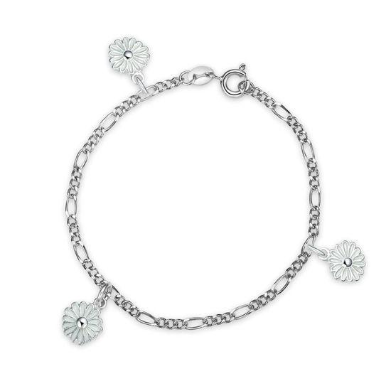 Charms-armbånd i sølv - Hvite prestekrager