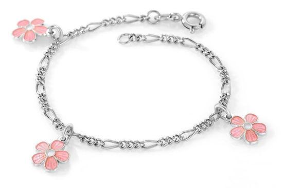 Charms-armbånd i sølv - Rosa blomster