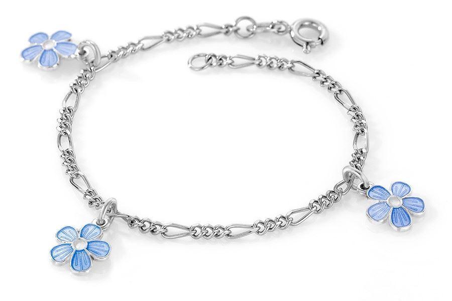 Charms-armbånd i sølv -Blå blomster