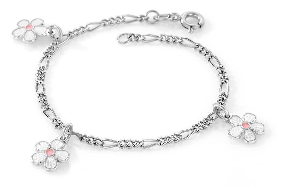 Charms-armbånd i sølv - Hvite blomster