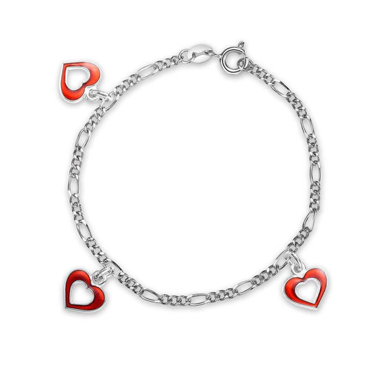 Charms-armbånd i sølv - Røde hjerter