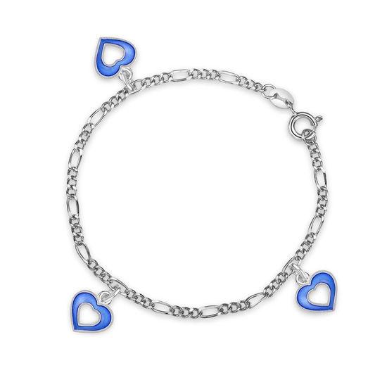 Charms-armbånd i sølv - Blå hjerter