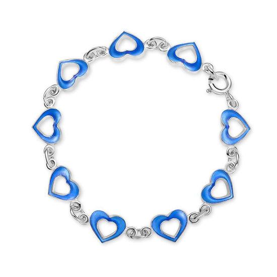Armbånd i sølv - Blå hjerter
