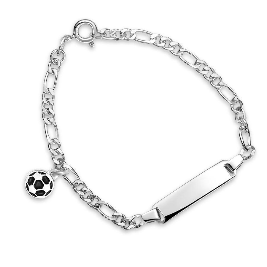Armbånd Sort fotball i sølv
