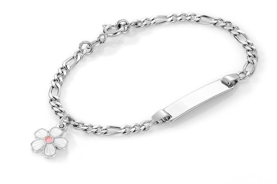 ID-armbånd i sølv - Hvit blomst