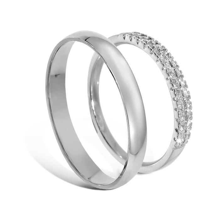 Giftering & diamantring i hvitt gull 14 kt, 3 mm - 1330-AR01141