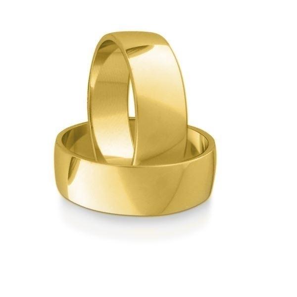 Gifteringer i gult gull 14kt, 7 mm. OREST –115700