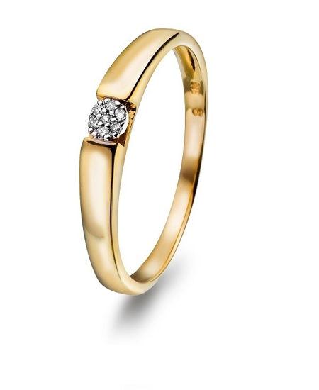 Diamantring i gull med 0,03 ct - 50772