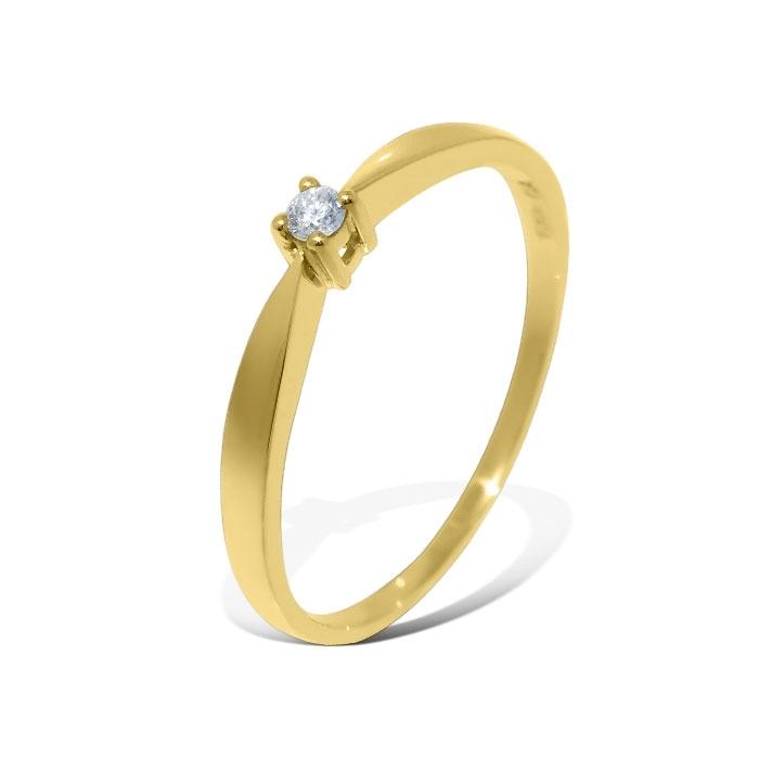 Diamantring i gult gull med 0,03 ct W-Si - COC00552h