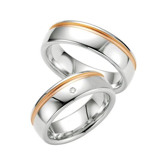 Samboerringer i sølv, 7 mm. SØLV MED DIAMANT - 4808025