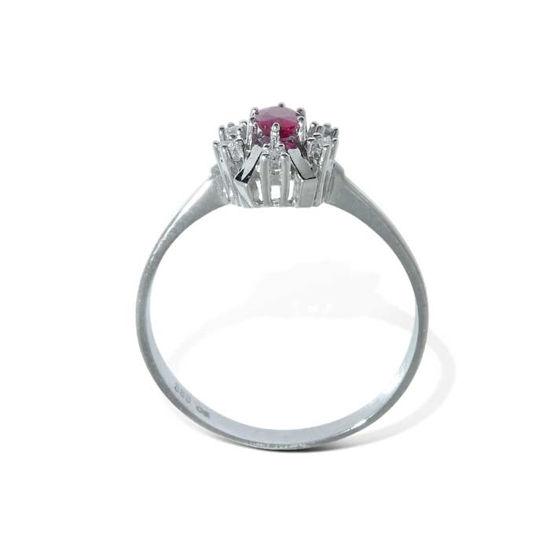 Diamantring i gull med 0,06 ct W-SI og rubin-bur570286