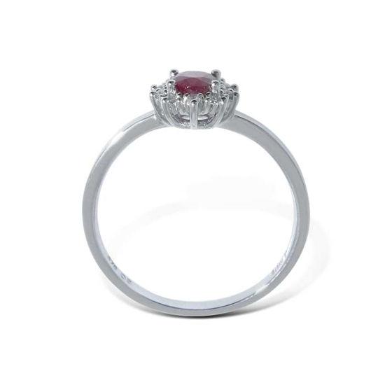 Diamantring i gull  med 0,05 ct W-p og rubin-bur615219