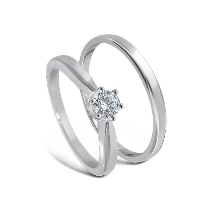 Giftering & diamantring Iselin hvitt gull 14 kt, 3 mm - 11530-COC00986