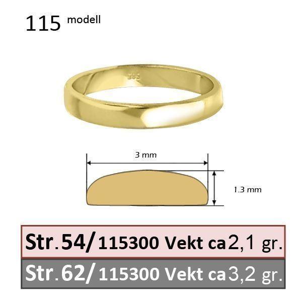 Giftering fra OREST i gult gull 14kt, 3 mm-115300