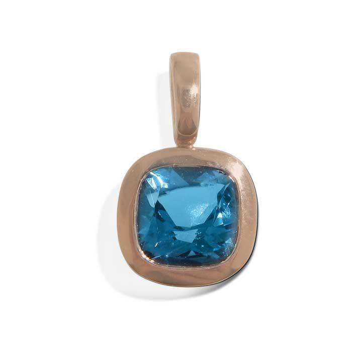Smykke i rosé gull  med blå topas  -283102