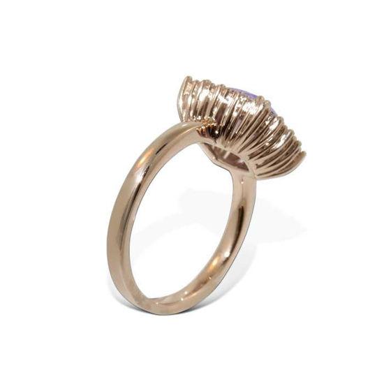 Diamantring i gull 14 kt med ametyst -bur573093