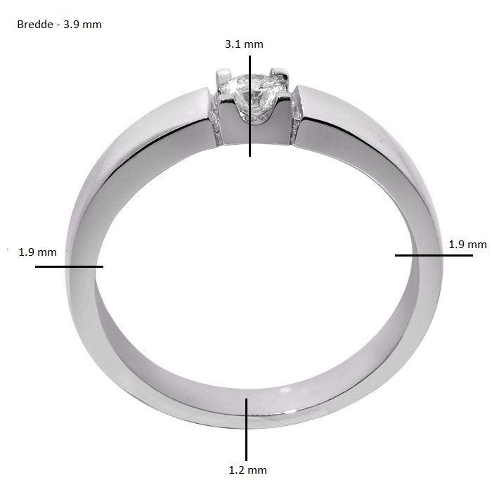 diamantring 0,15ct i gull 14kt, 4 mm -8501015