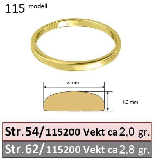 Giftering & diamantring Iselin gull 14kt, 2.5 mm - 1152500-85010050