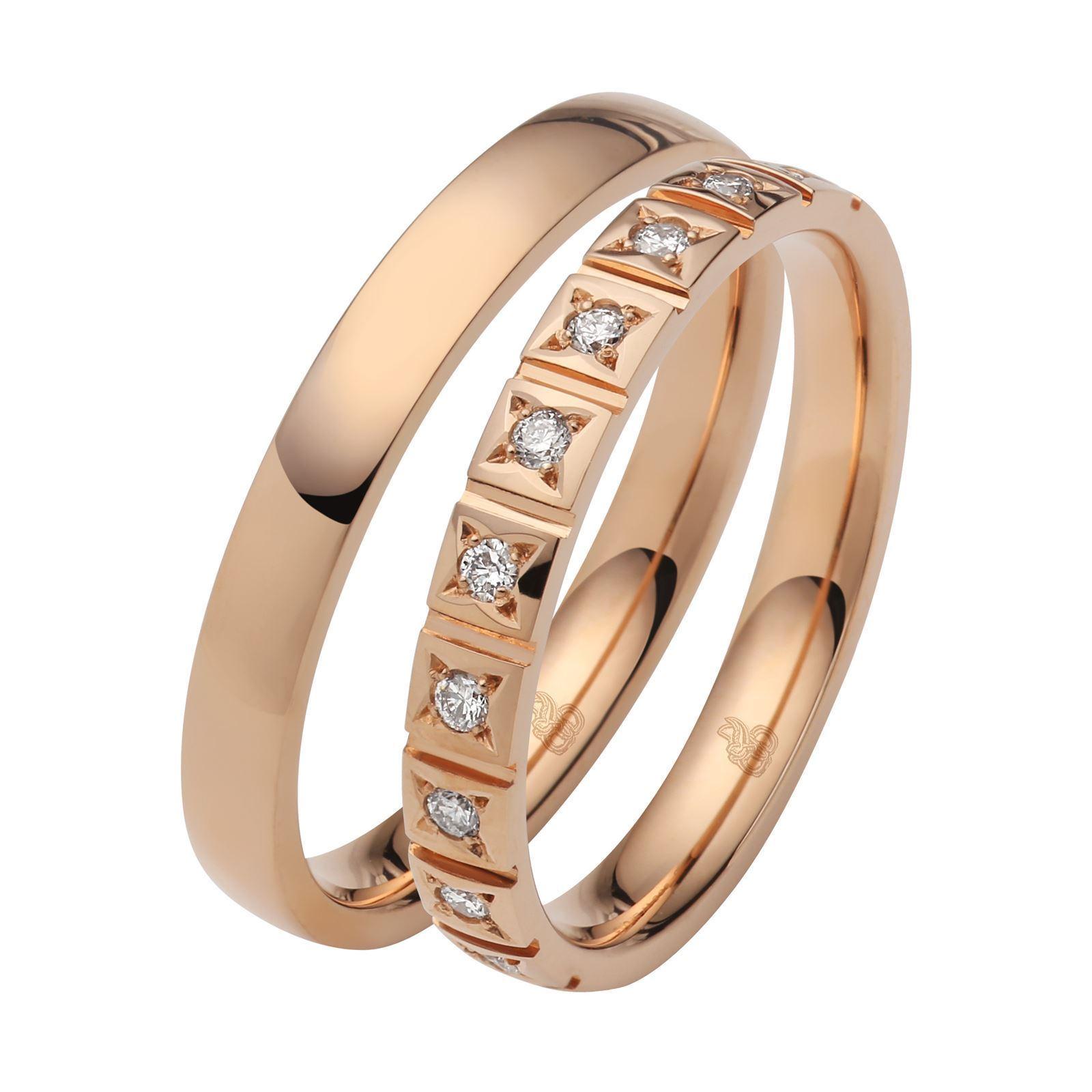 Bilde av Giftering & diamantring 0,15 ct W-Si i gult gull 9k, 3 mm -11035090-1035090