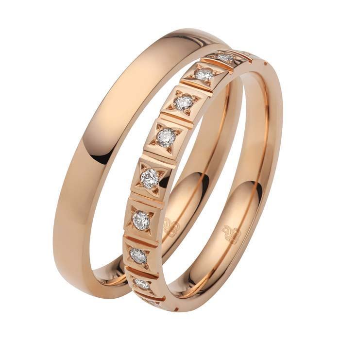 Giftering & diamantring 0,15 ct W-Si i gull 14kt, 3 mm -1103509-103509