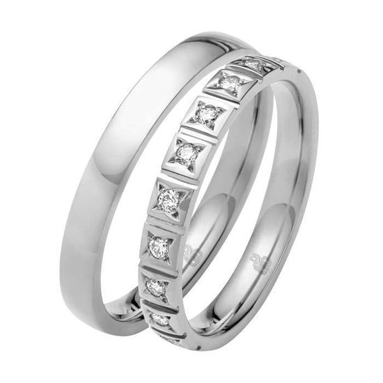 Giftering & diamantring 0,15 ct W-Si i gull 14kt, 3 mm -1103509