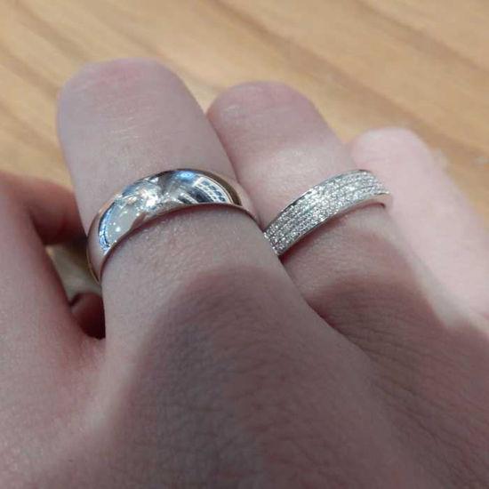 Giftering & diamantring hvitt gull 14 kt, 5 mm - 1350-3307016