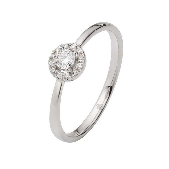 Flerstens diamantring Ja! med 0,17 ct TW-Si i 9kt gull -5100022